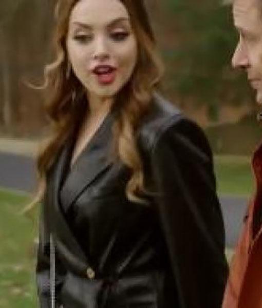 Dynasty S03 Ep16 Elizabeth Gillies Black Leather Coat