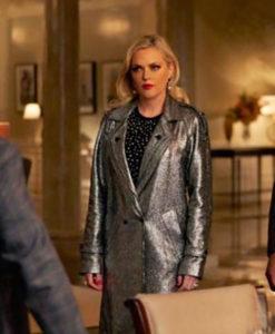 Dynasty S03 Ep16 Fallon Carrington Silver Metallic Coat