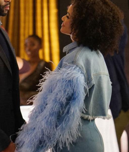 Dynasty leather Sleeve Denim Jacket