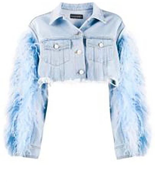 Vanessa Feather Sleeve Denim Jacket