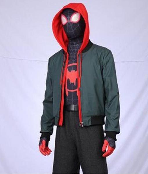 Miles Morales Green Spiderman into the Spider-verse Jacket