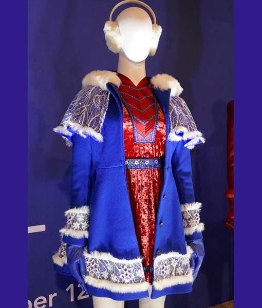 Anna Kendrick Noelle Christmas Blue Coat