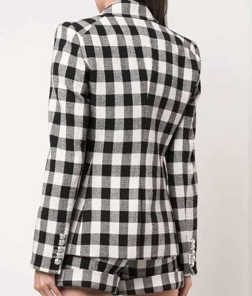 Lily Collins Emily in Paris Check Blazer