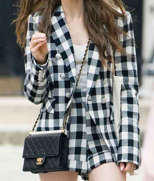 Lily Collins Emily in Paris Check Blazer
