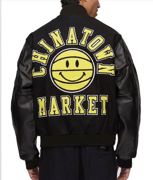Chinatown Market Smiley Face Varsity Jacket
