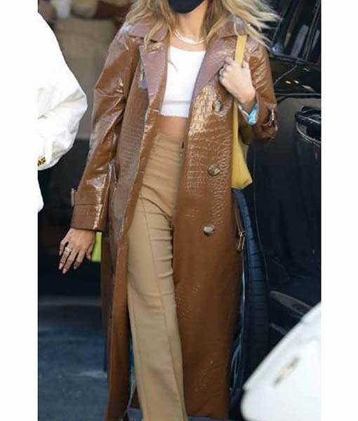 Hailey Bieber Brown Leather Coat
