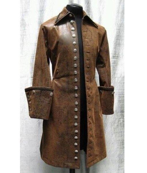 Steampunk Captain Men Brown Leather Coat