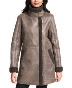 Sara Womens Grey Shearling Coat
