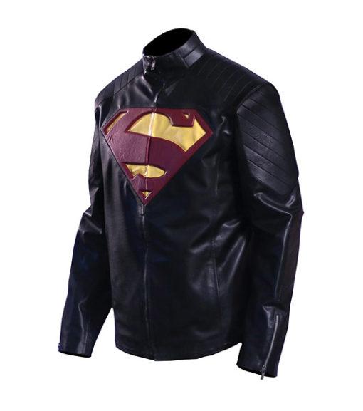 Superman Man Of Steel Black Leather Jacket