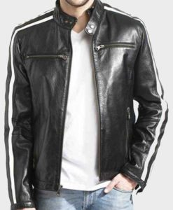 Alberto White Striped Black Café Racer Jacket