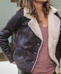 Halle Berry Brown Aviator Jacket