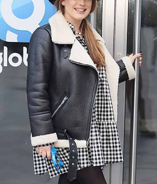 Kelly Brook Heart Radio Shearling Jacket