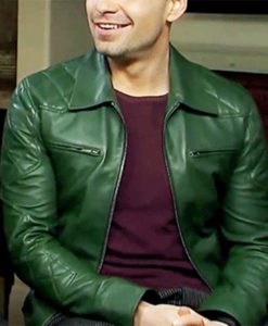 Sebastian Stan Green Leather Jacket