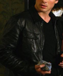 Damon Salvatore The Vampire Diaries Leather Jacket