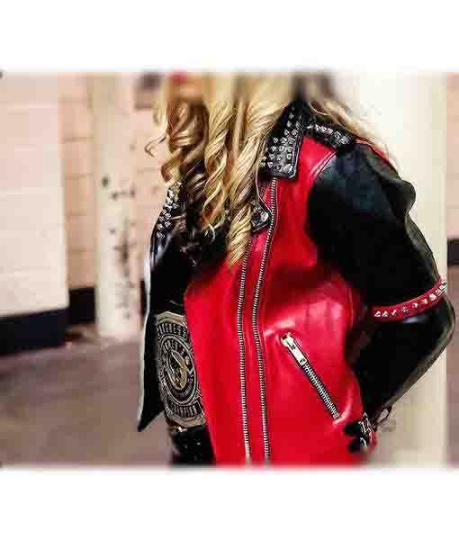 WWE Toni Storm Studded Red Leather Jacket