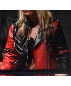 WWE Toni Storm Studded Red Leather Jacket