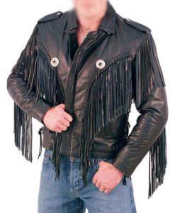 Men's Biker Fringed Leather Jacket