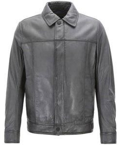 Men's Trucker Slim Fit Leather Jacket