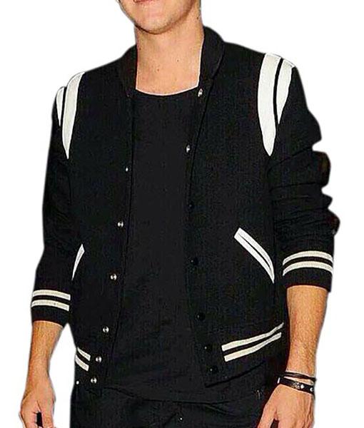 Black Letterman Jacket With White Detailing