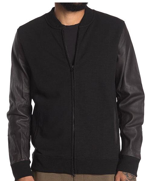Dustin Leather Sleeve Bomber Jacket