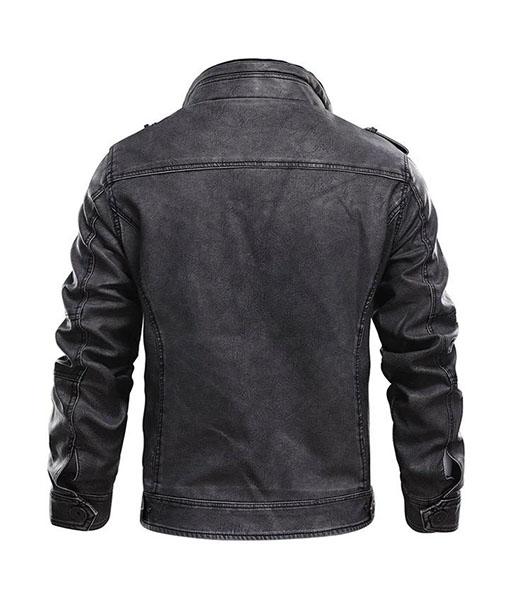 Men's Cafe Racer Distressed Black Leather Jacket
