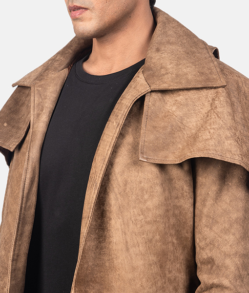 Men's Classic Army Brown Leather Duster