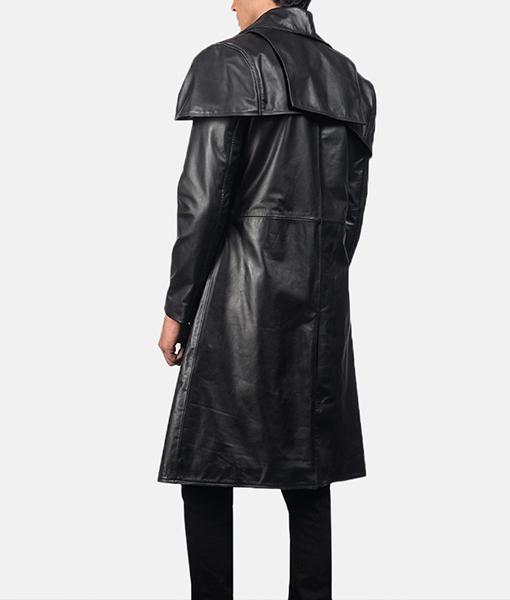 Men's Classic Black Leather Duster