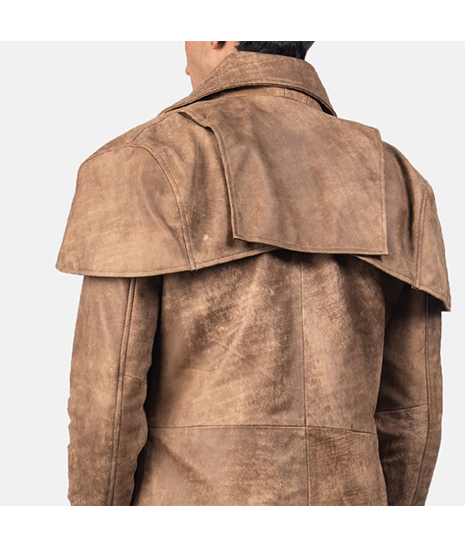 Men's Classic Brown Leather Duster