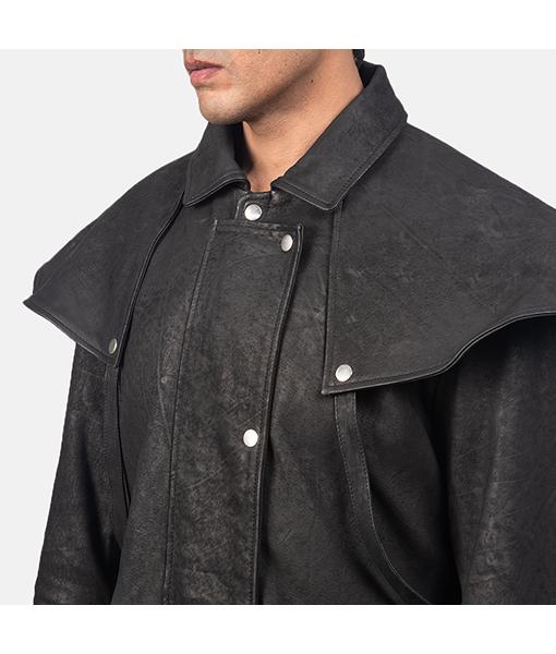 Men's Jason Black Leather Duster