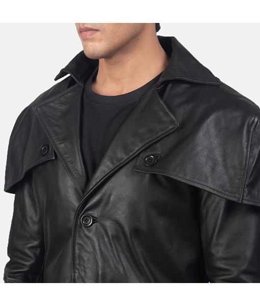 Men's Jesse Black Leather Duster