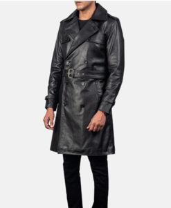 Men's Kenneth Black Leather Duster Coat