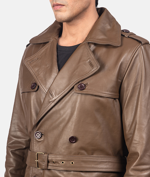 Men's Kenneth Brown Leather Duster Coat