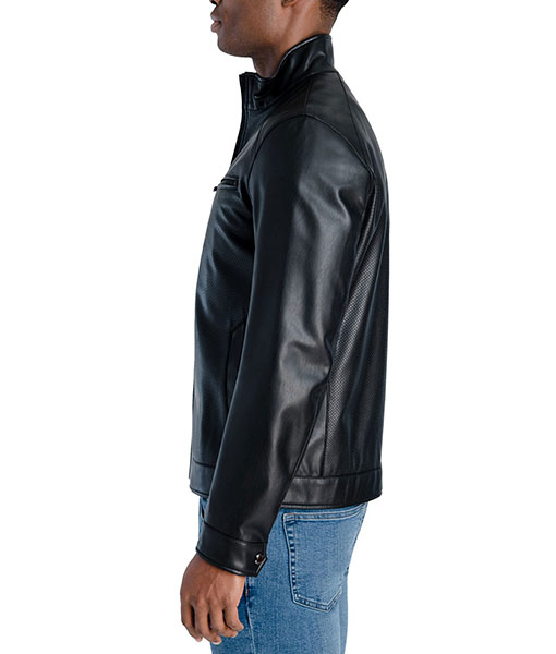 Men's Perforated Faux Leather Hipster Jacket