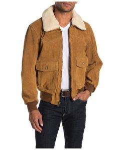 Men's Shearling Collar Bomber Jacket