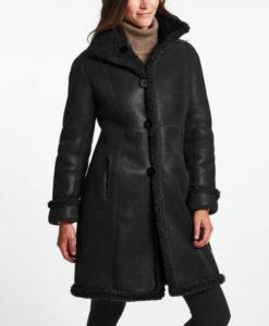 Women's Black Leather Shearling Coat