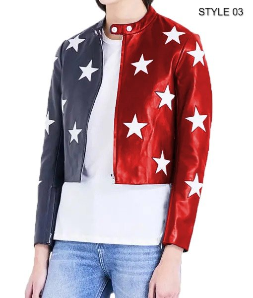 Women's Independence Day Cropped Leather Jacket