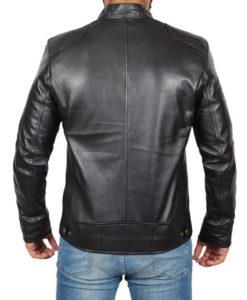Black Cafe Racer Leather Jacket