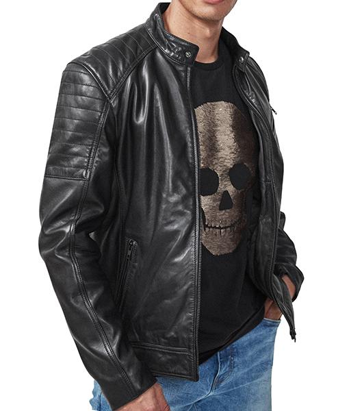 Donald Black Leather Jacket