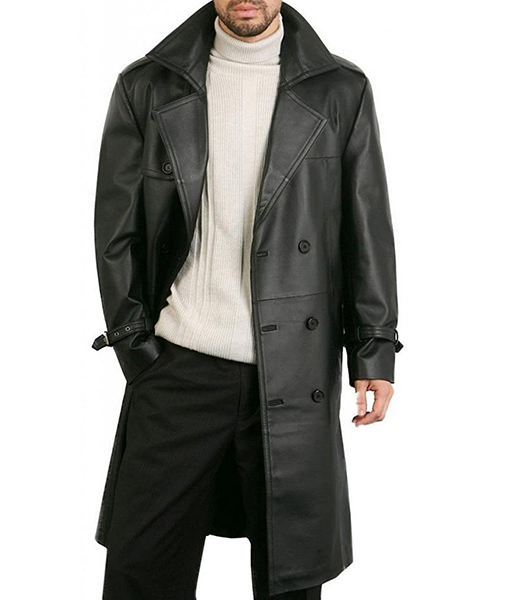 Justin Men's Leather Trench Coat