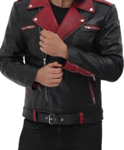 Men's Black and Maroon Leather Jacket