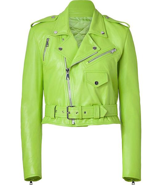 Women's Biker Lime Green Leather Jacket
