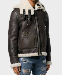 Mens Aviator Brown Shearling Hooded Jacket