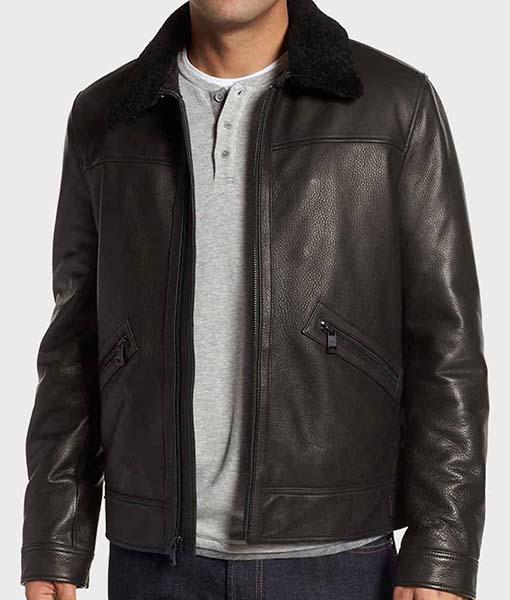Mens Black Leather Shearling Jacket