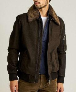 Men's Leather Bomber Fur Collar Jacket