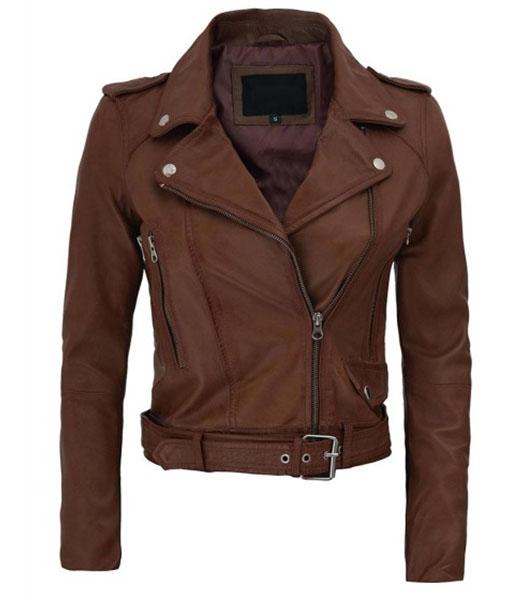 Women's Asymmetrical Cropped Leather Jacket
