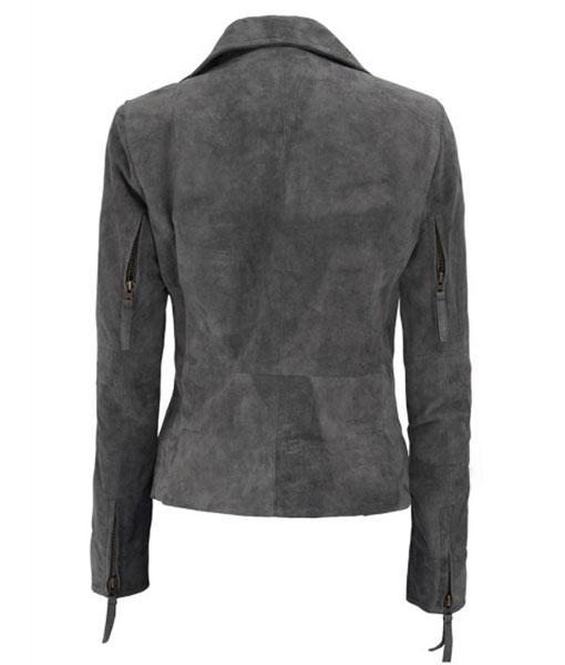Women's Suede Leather Asymmetrical Biker Jacket
