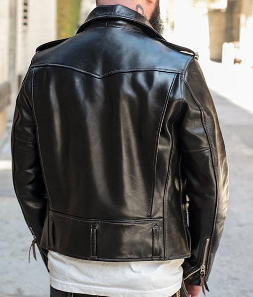 D-Pocket Asymmetrical Leather Jacket