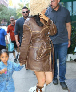 Kylie Jenner Distressed Leather Coat