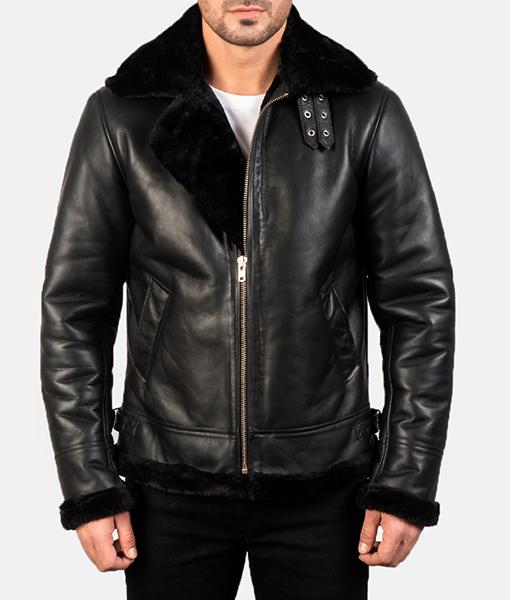 Men's B-3 Black Leather Bomber Jacket