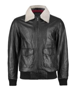 Men's Black Aviator Jacket with Fur Collar